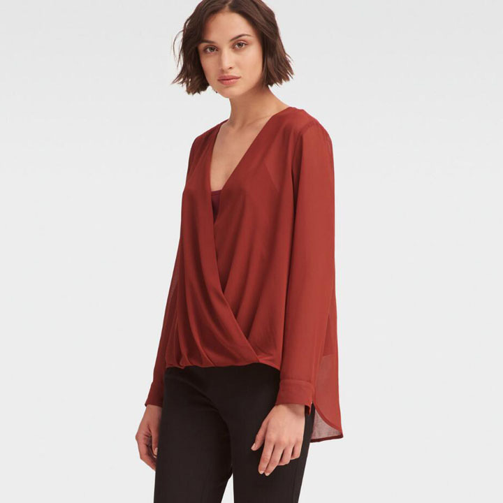 DKNY Wrap Front Blouse -  Brick Red, Size XXS