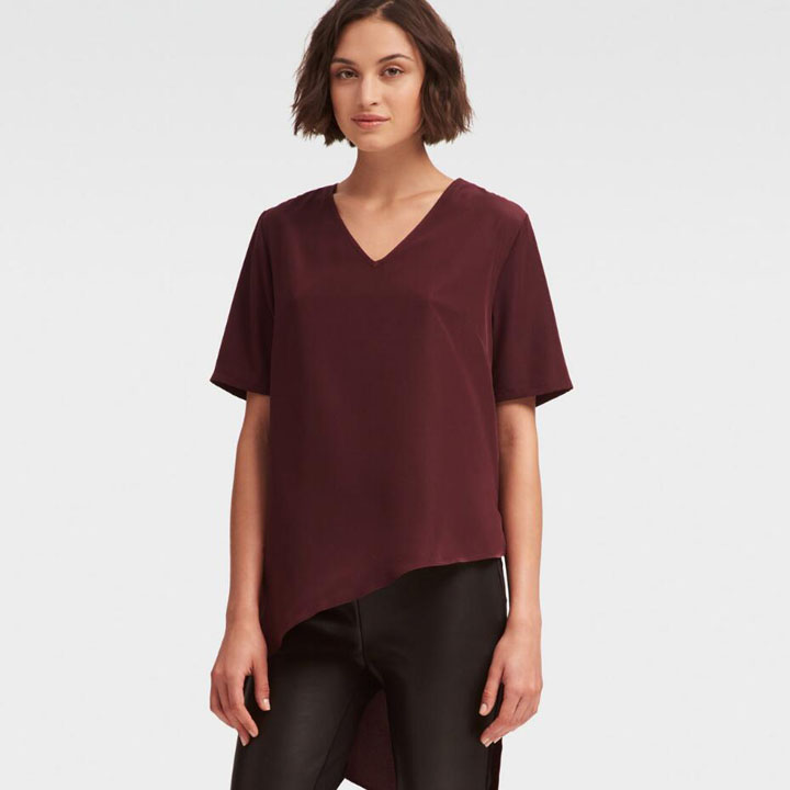DKNY High Low Asymmetrical Top - Pinot Noir, Size XXS