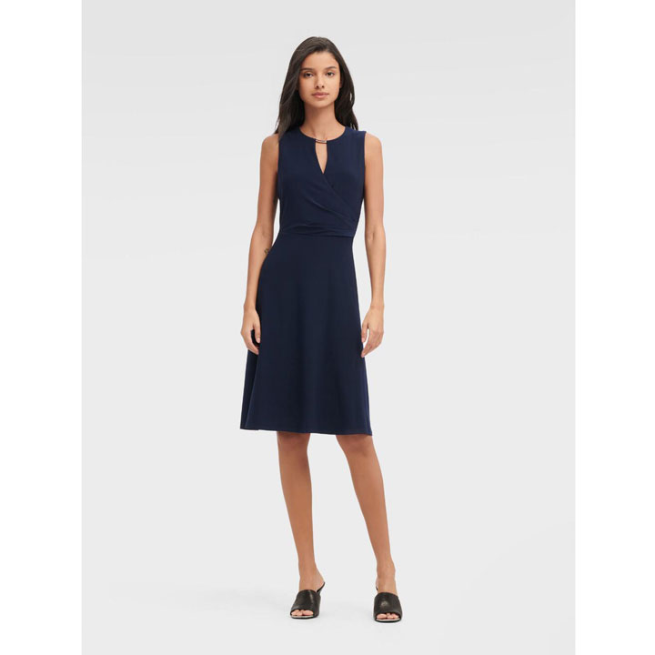 Đầm DKNY Sleeveless Keyhole Surplice - Midnight, Size 0