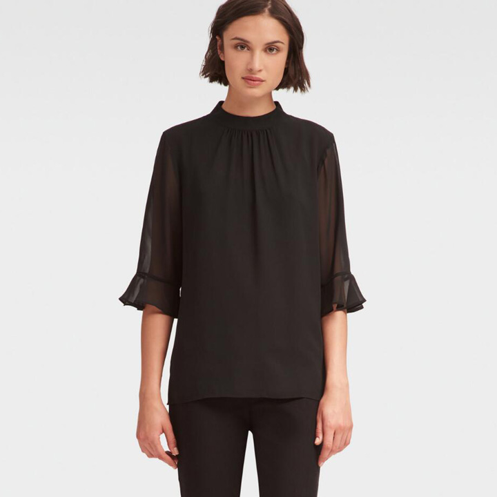 DKNY Ruffle-Sleeve Mock Neck Top - Black, Size XXS