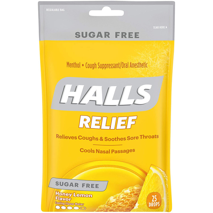 Kẹo ngậm Halls Relief Sugar Free - Honey Lemon, 25 viên