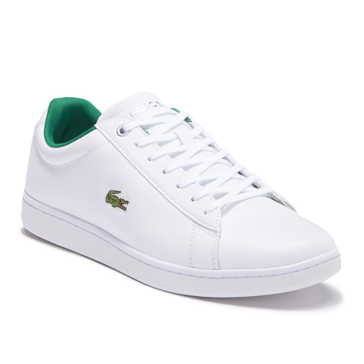 Lacoste Hydez Leather Sneaker - White/Green, Size 42