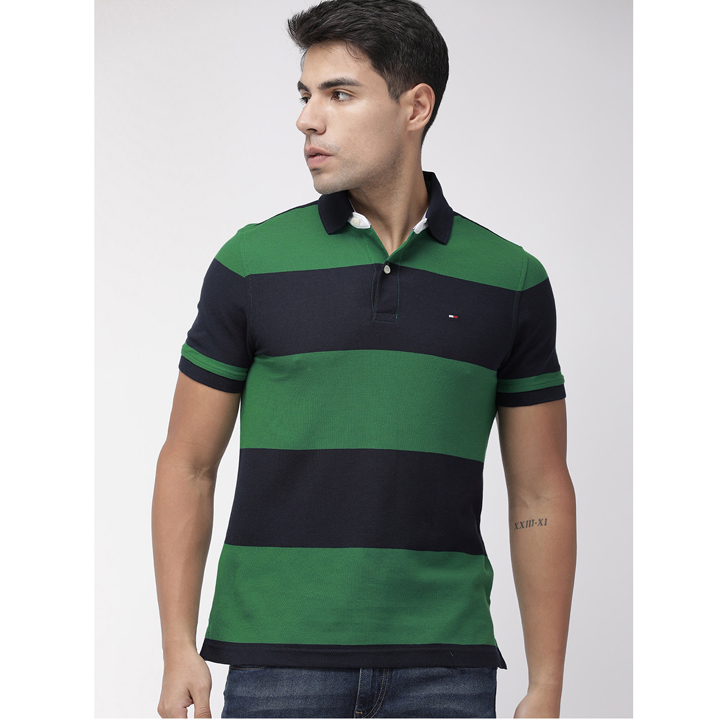 Tommy Hilfiger Wicking Cotton Striped Polo Shirt - Navy/Green, Size S