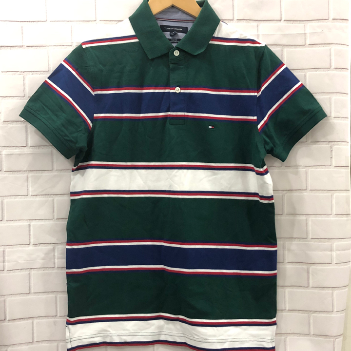 Tommy Hilfiger Slim Fit Coupe Etroite Striped Polo Shirt - Green, Size M