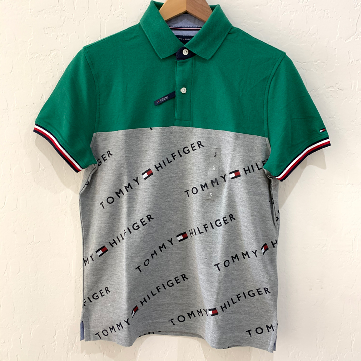 Tommy Hilfiger Wicking Cotton Polo Shirt - Green/Grey, Size XS