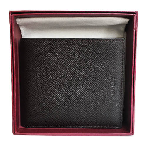 Ví Bally Bi-Fold Embossed Leather, Brown