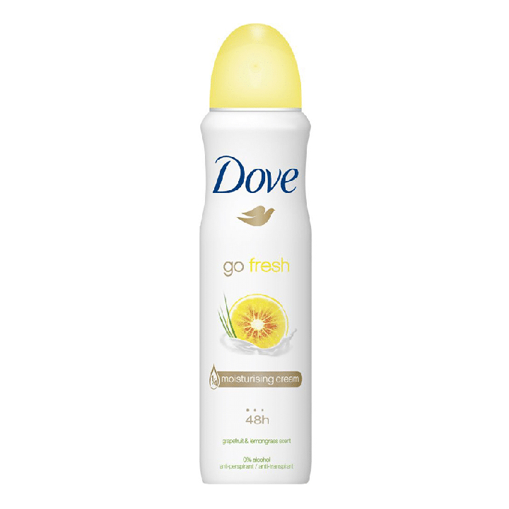 Xịt khử mùi Dove Go Fresh Grapefruit & Lemongrass Moisturising Cream 48h, 150ml