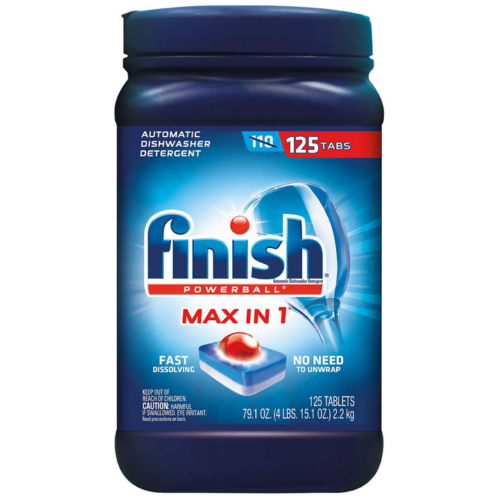 Viên rửa chén Finish Powerball Max in One Dishwasher Detergent Tablets, 125 viên