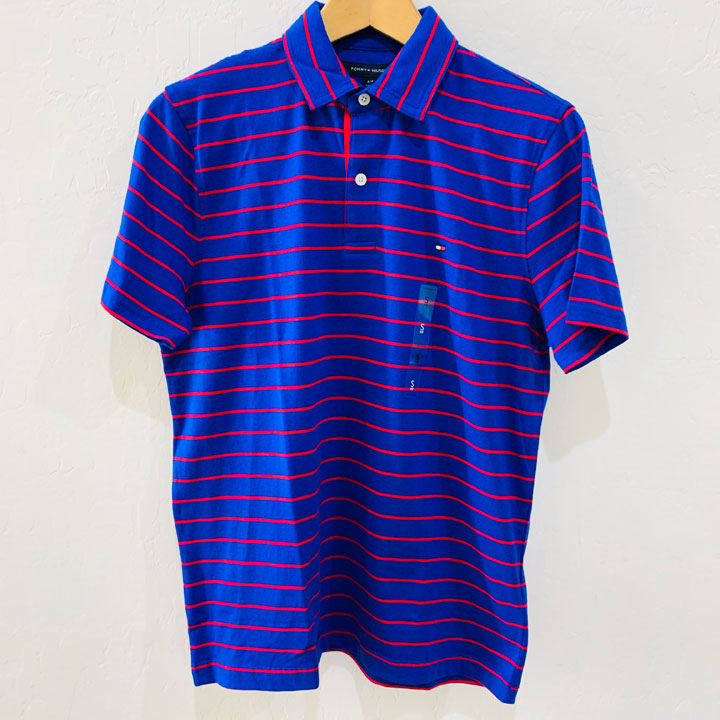 Tommy Hilfiger Classic Fit Red Striped Polo Shirt - Blue, Size M