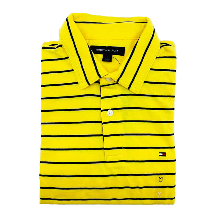 Tommy Hilfiger Classic Fit Black Striped Polo Shirt - Yellow, Size M