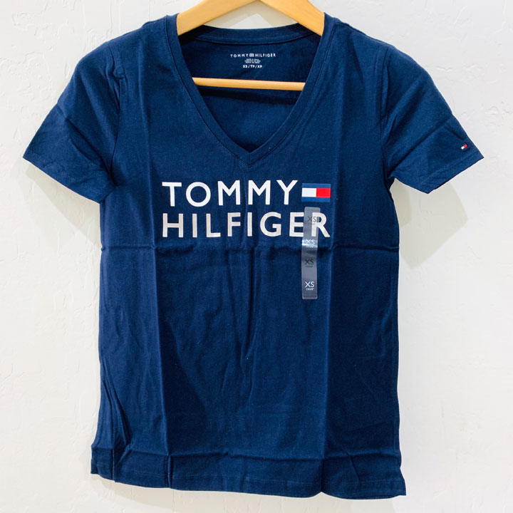 Tommy Hilfiger Classic Fit Essential Logo V- Neck T-Shirt - Navy, Size XS