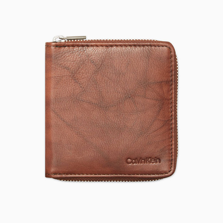 Calvin Klein Marble Leather Zip Around RFID Billfold Wallet, Brown