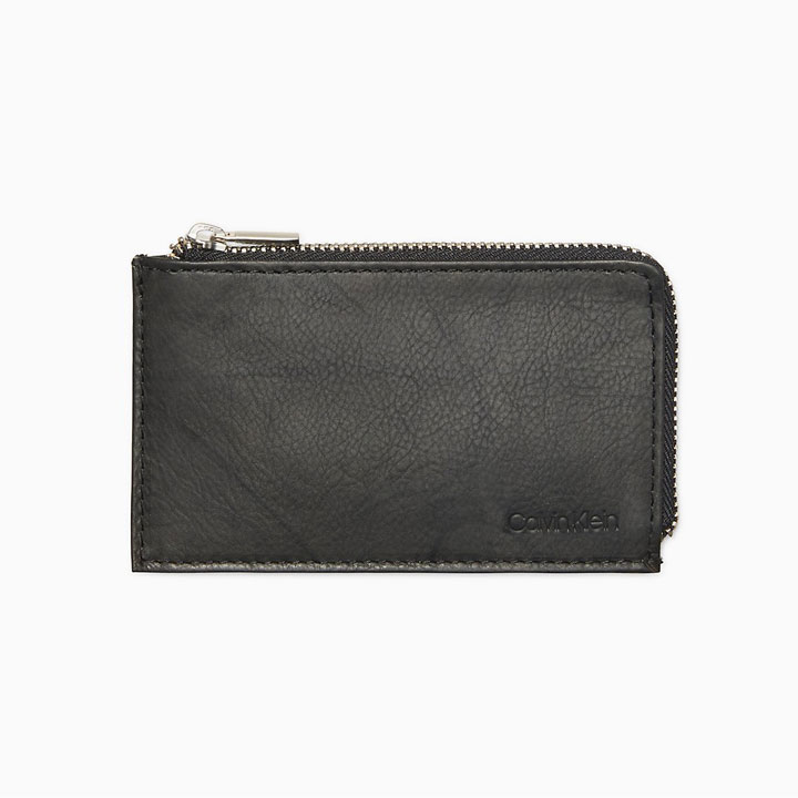 Calvin Klein Marble Leather L- Zip Card Case RFID Wallet, Black