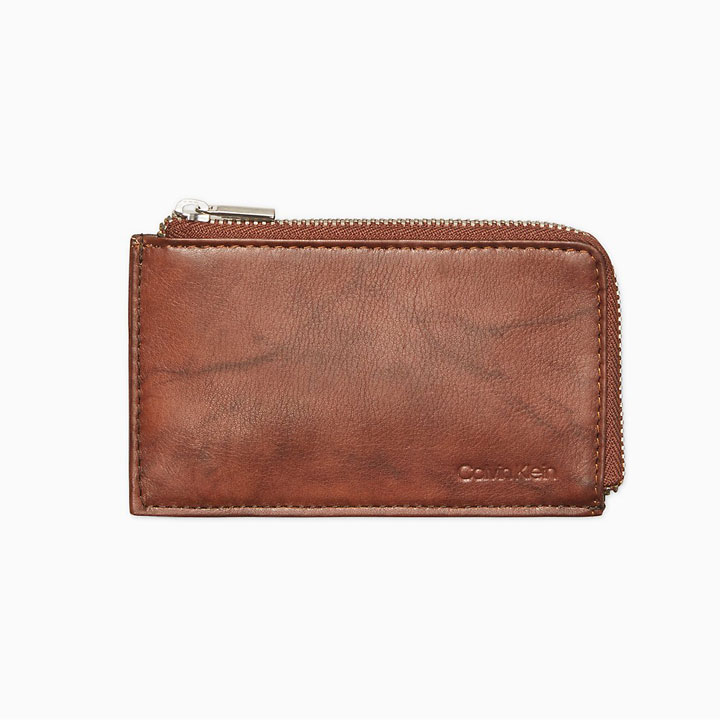 Calvin Klein Marble Leather L- Zip Card Case RFID Wallet, Brown