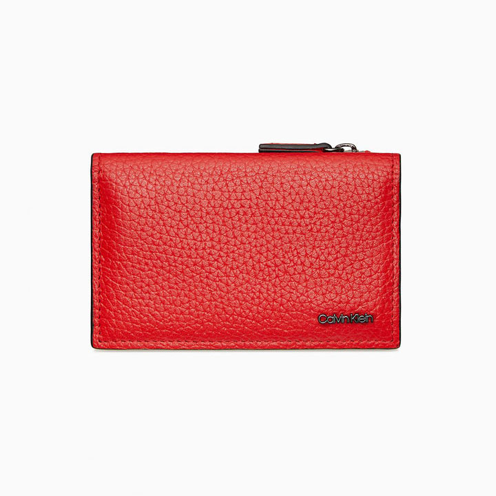 Calvin Klein Pebble Mini Card Case, Red