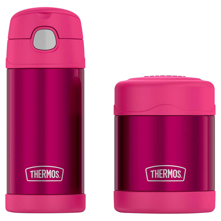 Thermos FUNtainer Bottle and Food Jar Lunch Set, Pink