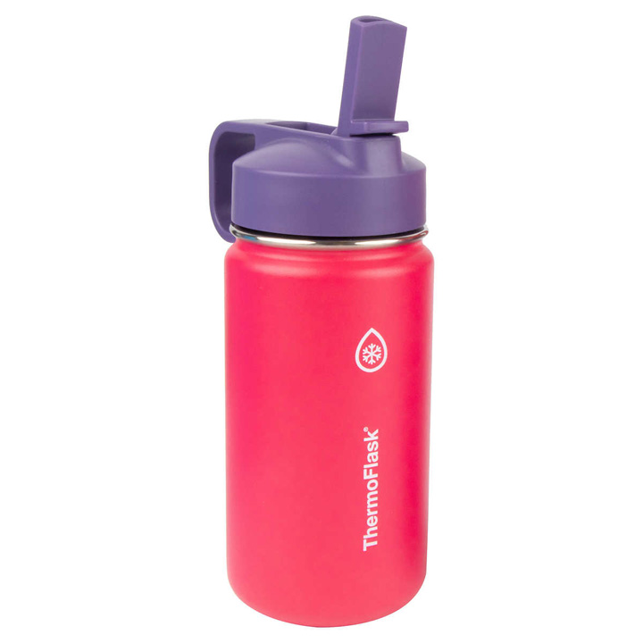 ThermoFlask Kids Stainless Steel Bottles with Straw Lid - Red, 414ml