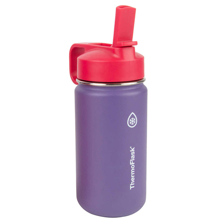ThermoFlask Kids Stainless Steel Bottles with Straw Lid - Purple, 414ml