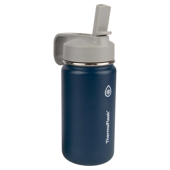 ThermoFlask Kids Stainless Steel Bottles with Straw Lid - Navy, 414ml